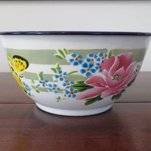 Enamel Bowl, Enamelware, Lucky Elephant, Made in China, Flowers and Butterfly